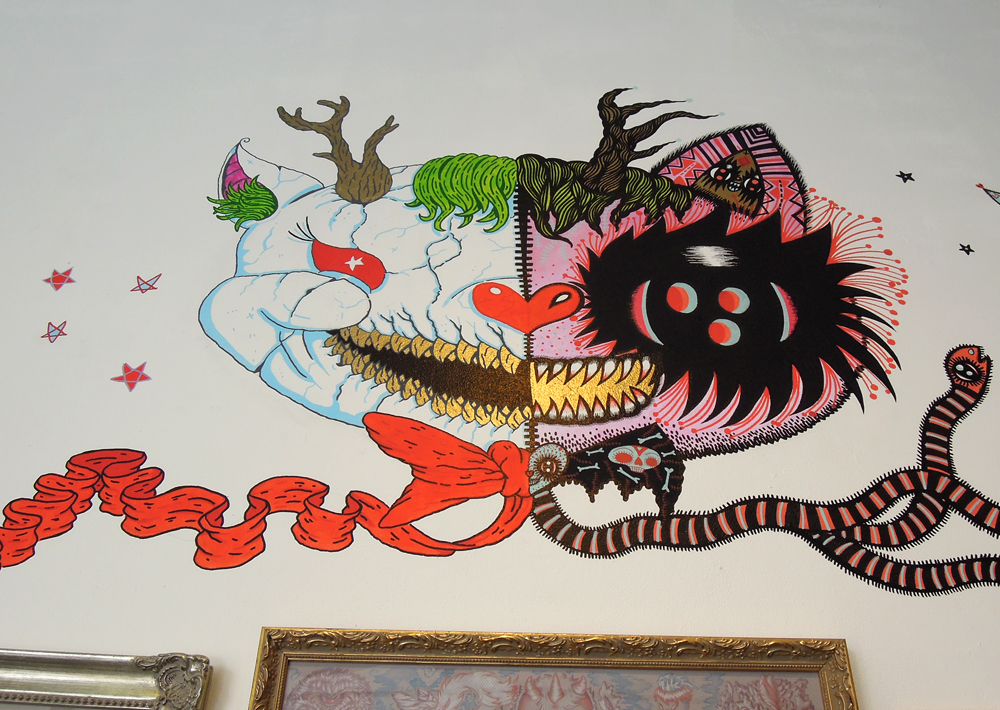 3 artist show with Malojo duo wall and show, COTTON CANDY MACHINE, Brooklyn, NYC, USA