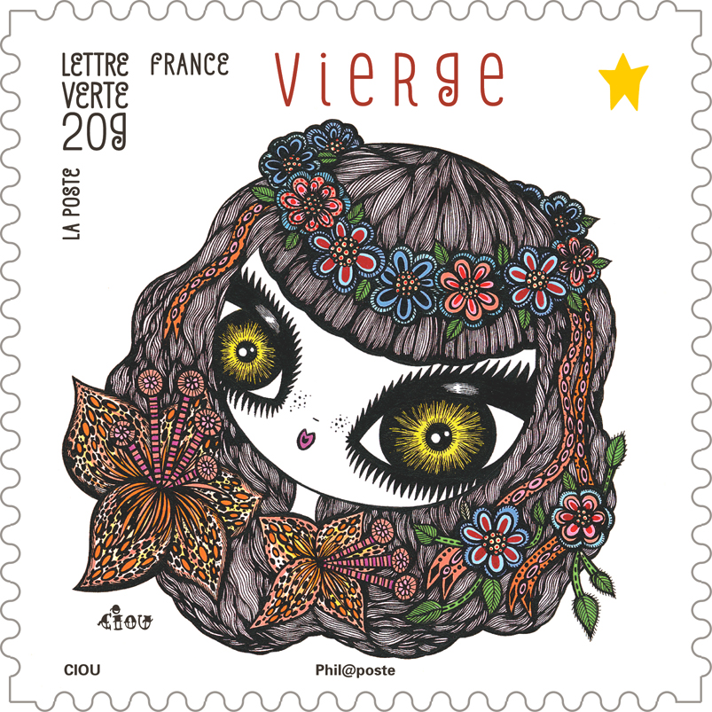 "virgo, Stamps "" Feerie astrologique"" 12 stamps for the french post La Poste, edited to 3 000 000 ex, FR"