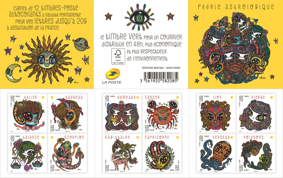 "Stamps "" Feerie astrologique"" 12 stamps for the french post La Poste, edited to 3 000 000 ex, FR"